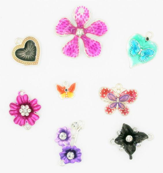 Enameled alloy charms